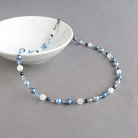Blue Beaded Necklace - Mid Blue Pearl and Crystal Jewellery - Navy Wedding Gifts