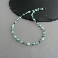 Jade Green Beaded Necklace - Mint Pearl Jewellery - Sage Mother of the Bride
