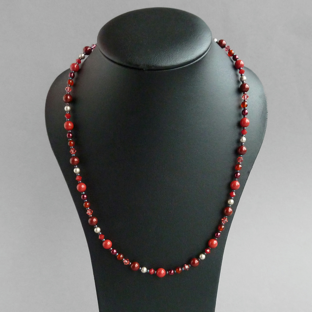 Coral Red Everyday Necklace - Red and Burgundy Pearl Jewellery - Beaded Gifts