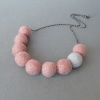 Chunky Pale Pink and Grey Felt Necklace - Statement Colour block Jewellery Gifts