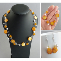 Mustard Jewellery Set - Yellow Floating Pearl Necklace, Bracelet & Earrings Set