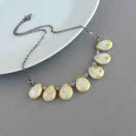 Cream and Gold Teardrop Fan Necklace - Ivory and Mustard Statement Jewellery
