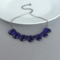 Cobalt Blue Teardrop Fan Necklace - Navy Chunky Czech Glass Statement Jewellery
