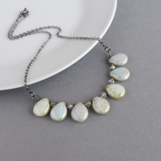 Duck Egg Blue Teardrop Fan Necklace - Mint Chunky Glass Statement Jewellery