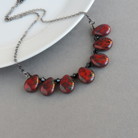 Red and Black Teardrop Fan Necklace - Scarlet Chunky Glass Statement Jewellery