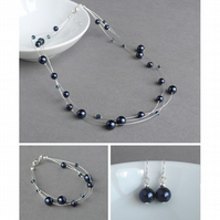 Navy Jewellery Set - Floating Pearl Necklace, Bracelet and Drop Earrings - Gifts