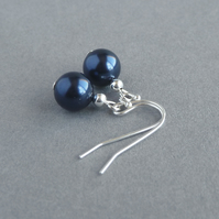 Simple Navy Pearl Drop Earrings - Dark Blue Bridesmaids Gifts. - Navy Wedding