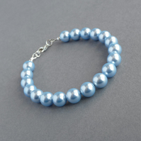 Light Blue Single Strand Pearl Bracelet - Pale Blue Wedding Jewellery - Gifts