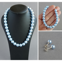 Chunky Light Blue Pearl Jewellery Set - Baby Blue necklace, Bracelet & Earrings