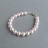 Blush Pink Single Strand Pearl Bracelet - Light Pink Wedding Jewellery - Gifts