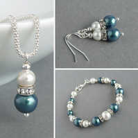 Dark Green Pearl Jewellery Set - Emerald Necklace, Bracelet and Earrings - Teal