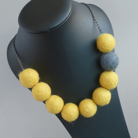 Bright Yellow and Grey Felt Bead Necklace - Chunky Lemon Colour Block Jewellery