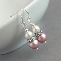 Dusky Pink Earrings - Soft Pink Bridesmaids Jewellery - Rose Pearl Drop Earrings
