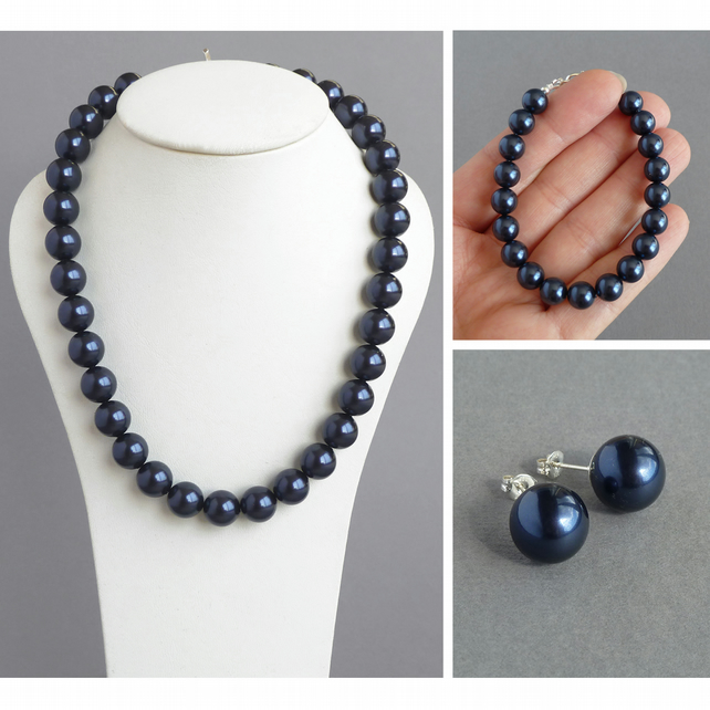 Navy Chunky Pearl Jewellery Set - Dark Blue Necklace, Bracelet and Stud Earrings