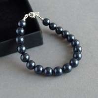 Chunky Navy Pearl Bracelet - Night Blue Bridesmaid Jewellery - Dark Blue Wedding