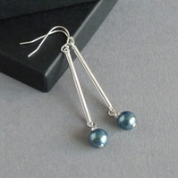 Long Dark Green Drop Earrings - Teal Pearl & Sterling Silver Bar Jewellery Gifts