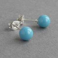Sea Blue Swarovski Pearl Stud Earrings - Simple Turquoise Round Studs - Gifts