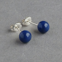 Royal Blue Pearl Post Earrings - Glossy Navy Blue Swarovski Pearl Studs - Lapis
