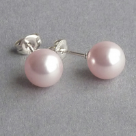 Blush Pink Pearl Stud Earrings - Pale Pink Bridesmaids Jewellery - Wedding Gifts