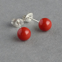 6mm Coral Red Glass Pearl Stud Earrings - Round Poppy Coloured Studs - Tomato