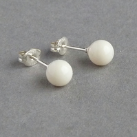 Glossy Ivory Post Earrings - Vintage Cream Swarovski Pearl Studs - Magnolia