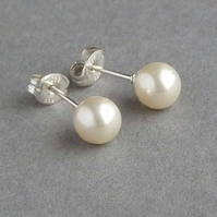 Cream Pearl Studs - Swarovski Pearl Post Earrings - Bridal Jewellery