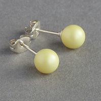 6mm Lemon Stud Earrings - Round Pale Yellow Studs - Small Coloured Pearl Studs