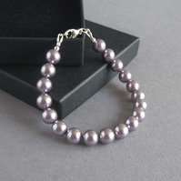 Simple Lilac Pearl Bracelet - Lavender Wedding Jewellery - Bridesmaids Gifts