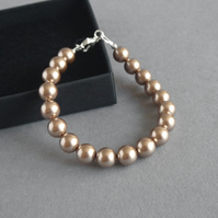 Single Strand Bronze Pearl Bracelet - Brown Wedding Jewellery - Soft Gold Brides