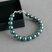 Simple Dark Green Pearl Bracelet - Teal Jewellery for Brides, Bridesmaids, Gifts