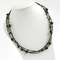 Black and Gold Twisted Pearl Necklace - Black Onyx Multi Strand Necklaces