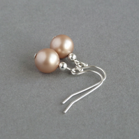 Simple Rose Gold Pearl Drop Earrings - Minimal Champagne Wedding Jewellery Gifts