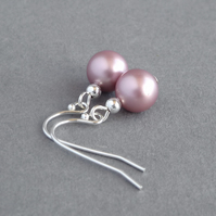 Dusky Pink Pearl Drop Earrings - Rose Pink Bridesmaids Gifts - Wedding Jewellery