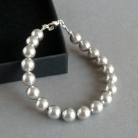 Simple Silver Pearl Bracelet - Light Grey Bride or Bridesmaids Jewellery Gifts