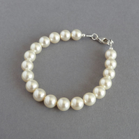 Cream Single Strand Pearl Bracelet - Ivory Jewellery - Brides, Bridesmaids Gifts