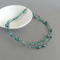 Dark Green Multi-strand Necklace - Emerald Three Strand Pearl Jewellery - Gifts