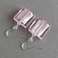 Square Baby Pink Fused Glass Drop Earrings - Light Pink Silver Foil Lined Dangle