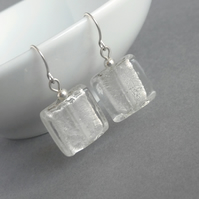 Square White Fused Glass Drop Earrings - Silver Foil Lined Glass Dangle Earrings