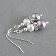 Lilac and White 2 Pearl Drop Earrings - Mauve Swarovski Dangle Earrings - Gifts