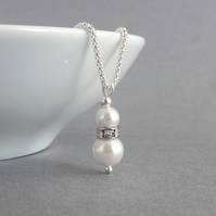 White Pearl and Crystal Necklace - Bridal Drop Pendant - Wedding Accessories