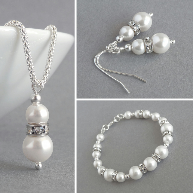 White Pearl and Crystal Jewellery Set - Ivory Necklace, Bracelet and Earrings