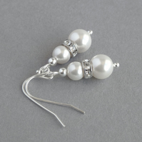 White Pearl and Crystal Drop Earrings - Ivory Bridal or Bridesmaid Jewellery