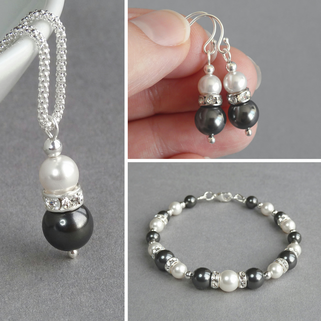 Dark Grey Pearl and Crystal Jewellery Set - Necklace, Bracelet and Drop Earrings