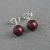 6mm Elderberry Swarovski Pearl Stud Earrings - Small Plum Ball Studs - Gifts