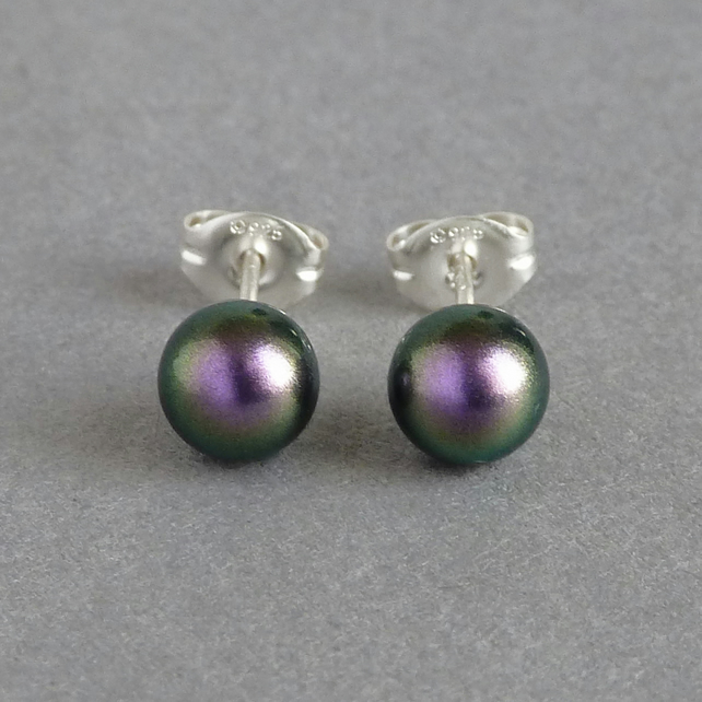 6mm Dark Purple Swarovski Pearl Stud Earrings - Round Iridescent Ball Studs