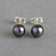 6mm Dark Purple Swarovski Pearl Stud Earrings - Round Iridescent Mulberry Studs