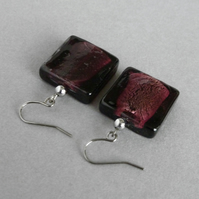 Large Dark Purple Square Drop Earrings - Big Plum Fused Glass Dangle Earrings