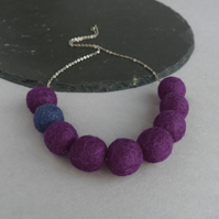 Chunky Dark Purple Felt Bead Necklace - Big Aubergine Felted Ball Jewellery