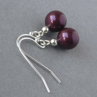 Plum Pearl Sterling Silver Dangle Earrings - Aubergine Drop Earrings - Jewellery