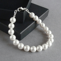 Single Strand White Swarovski Pearl Bracelet - Simple Wedding Jewellery - Gifts